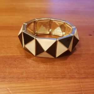 Black, White & Gold Geometric Strech Bracelet